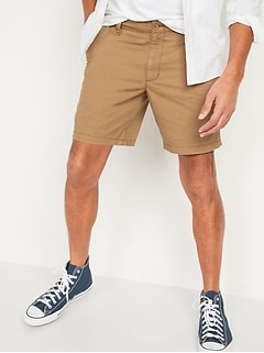 Straight Lived-In Khaki Non-Stretch Shorts for Men - 8-inch inseam