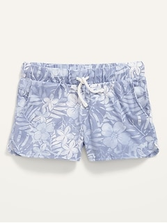 Printed Dolphin-Hem Jersey Shorts for Girls