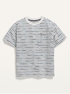 Gender-Neutral Short-Sleeve Striped Loose-Fit Pocket T-Shirt for Kids