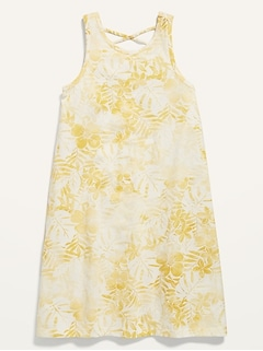 Sleeveless Lattice-Back Dress for Girls
