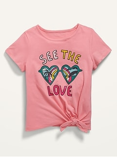 Short-Sleeve Tie-Front Graphic Tee for Girls
