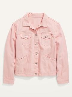 Cropped Plus-Size Pink Jean Jacket