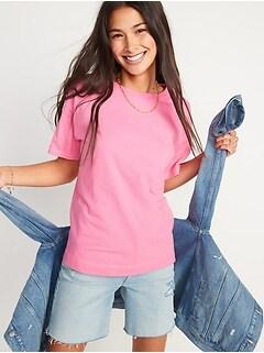 T-shirt ample rétro à encolure ras du cou pour Femme