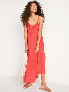 Tiered Tie-Front Maxi Swing Sundress for Women
