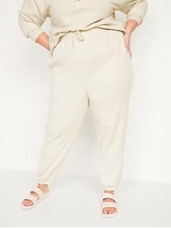 Pantalon en jersey bouclette à taille très haute, taille forte