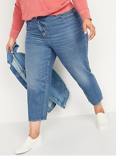 High-Waisted Secret-Slim Pockets Slouchy Straight Plus-Size Cropped Jeans