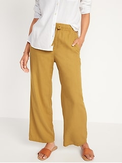 High-Waisted Wide-Leg Linen-Blend Pants for Women
