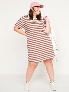 Vintage Striped Slub-Knit Plus-Size T-Shirt Shift Dress