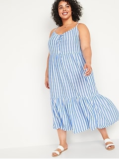 Striped Tiered Tie-Front Maxi Swing Plus-Size Sundress
