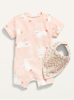 Ensemble avec une-pièce à imprimé de lapin et bavoir à fleurs pour Bébé