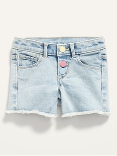 Snap-Fly Cut-Off Jean Shorts for Toddler Girls