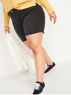 Extra High-Waisted Secret-Smooth Pockets Sky Hi Plus-Size Button-Fly Jean Shorts -- 7-inch inseam