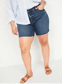 Extra High-Waisted Secret-Slim Pockets Sky Hi Button-Fly Plus-Size Jean Shorts -- 7-inch inseam