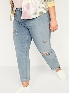Extra High-Waisted Sky Hi Straight Secret-Slim Pockets Plus-Size Button-Fly Ripped Jeans