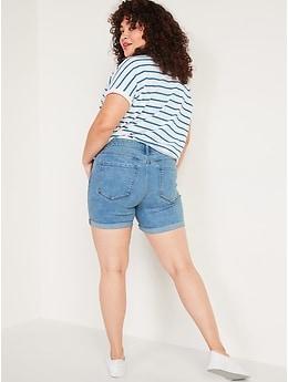 Mid-Rise Light-Wash Slim Jean Shorts for Women -- 5 inch inseam