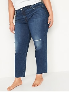 High-Waisted Secret-Slim Pockets O.G. Straight Ripped Plus-Size Cut-Off Jeans