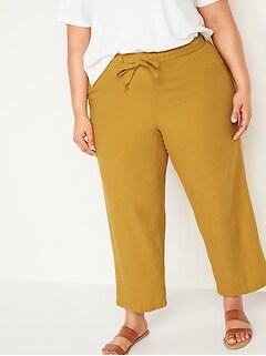 Pantalon à jambe large à taille haute en mélange de lin, taille forte