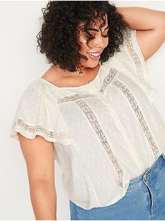 Oversized Clip-Dot Crochet-Lace No-Peek Plus-Size Blouse