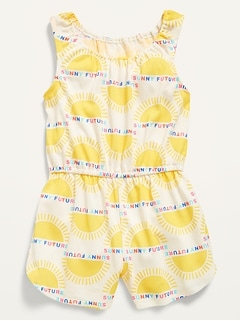 Sleeveless Cinched-Waist Pajama Romper for Baby