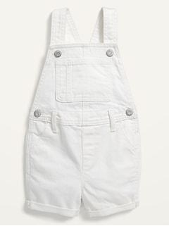 Frayed-Hem White Jean Shortalls for Toddler Girls