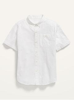 Chemise armurée à manches courte à devant boutonné avec poche pour Garçon