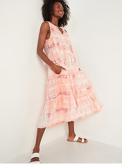 Tiered Tie-Neck Tie-Dyed Midi Swing Dress for Women