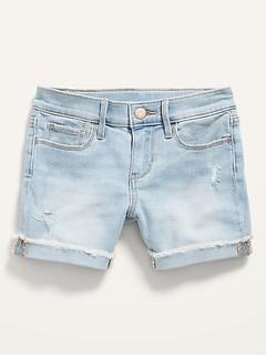 Light-Wash Jean Midi Shorts for Girls