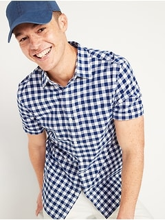 Built-In Flex Gingham Short-Sleeve Oxford Shirt for Men