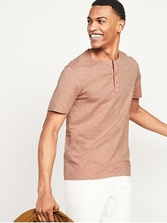 Slub-Knit Canvas-Placket Short-Sleeve Henley Tee for Men