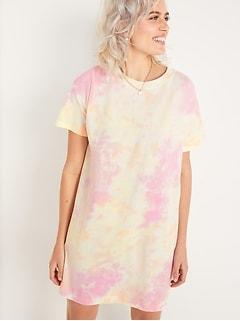 Loose Vintage Tie-Dye T-Shirt Shift Dress for Women