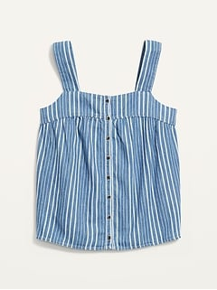Sleeveless Striped Button-Front Jean Top for Women