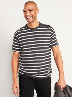 Vintage Striped Lightweight Linen-Blend Pocket Tee for Men