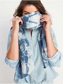 Crinkle-Textured Tie-Dye Gauze Scarf for Women