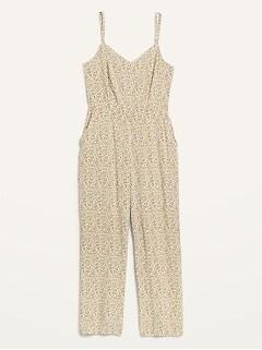 Combinaison pantalon-camisole sans manches à col enV à imprimé à fleurs pour Femme