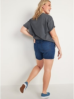 High-Waisted Slouchy Straight Cut-off Jean Shorts For Women -- 5-inch inseam