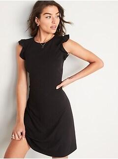 Ruffle-Sleeve Ponte-Knit Sheath Dress for Women