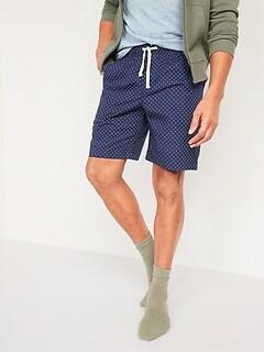 Printed Poplin Pajama Shorts for Men -- 9-inch inseam