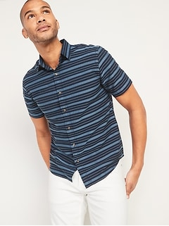 Relaxed-Fit Textured-Stripe Short-Sleeve Shirt for Men