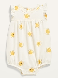 Printed Flutter-Sleeve Bubble One-Piece for Baby