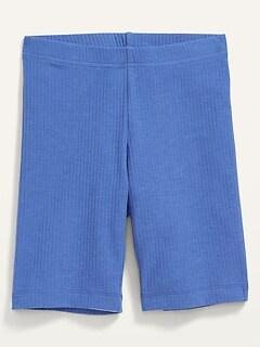 Rib-Knit Long Bike Shorts for Girls