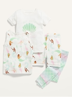Unisex 4-Piece Graphic Pajama Set for Toddler & Baby