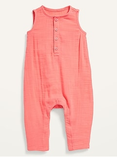 Unisex Sleeveless Henley One-Piece for Baby