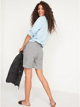 High-Waisted Gingham Seersucker Everyday Shorts for Women -- 7-inch inseam
