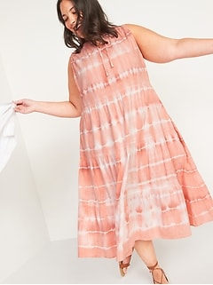Tiered Tie-Neck Tie-Dyed Plus-Size Midi Swing Dress