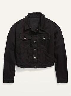 Cropped Black Jean Jacket for Women