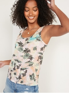 Slub-Knit Button-Front Sleeveless Top for Women