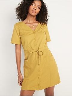 Waist-Defined Short-Sleeve Utility Garment-Dye Mini Dress For Women
