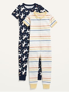 2-Pack Unisex Snug-Fit Printed Pajama One-Piece for Toddler & Baby