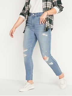 Extra High-Waisted Rockstar 360° Stretch Super Skinny Ripped Cut-Off Jeans for Women
