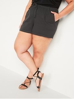 High-Waisted Textured Twill Plus-Size Shorts -- 5-inch inseam